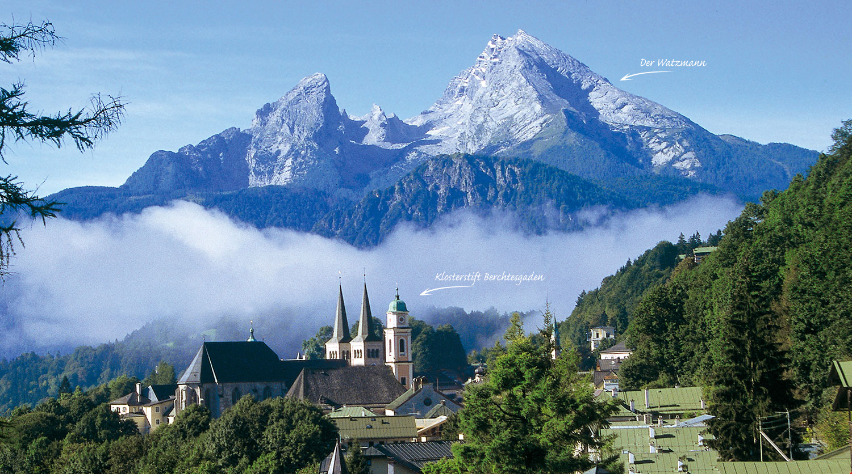 Urlaub Bayern, Klosterstift Berchtesgaden, Watzmann-Lockstein