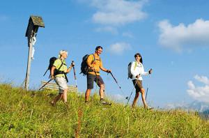 Wanderer auf Almwiese, Wanderurlaub, Wandern in Reit im Winkl