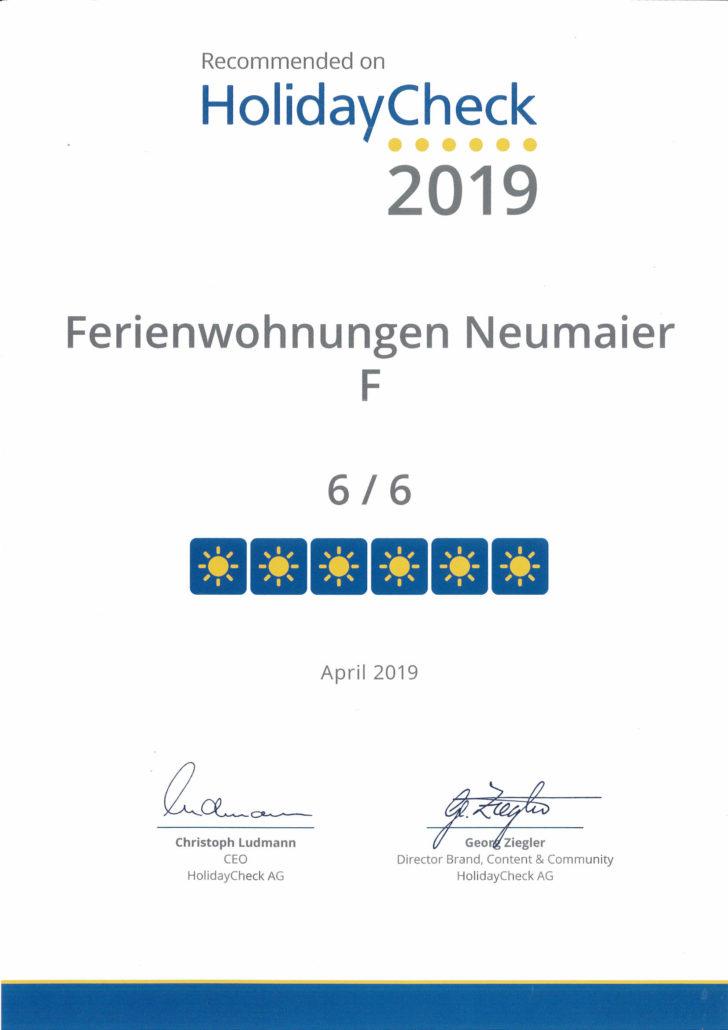 Ferienwohnungen Neumaier Reit im Winkl HolidayCheck Urkunde 2019 6von 6 Sonnen