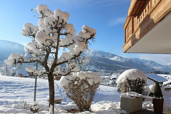 Winterurlaub in Reit im Winkl, Ferienwohnungen Neumaier, Blick vom verschneiten Garten auf Berpanorama