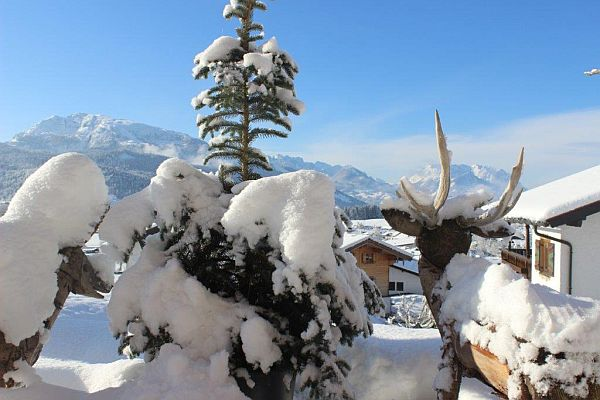 Ferienwohnungen Neumaier Reit im Winkl Blick vom verschneiten Garten auf Berpanorama