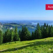 Blick von Piesenhauser Hochalm auf Chiemsee im Chiemgau
