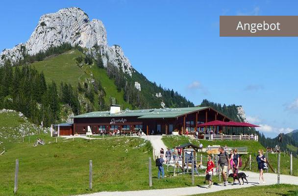 Sonnenalm unter Kampanwand mit Hütte und Familien im Wanderurlaub Chiemgau Oberbayern, Beitragsbild für Angebot Ferienwohnung Neumaier Reit im Winkl