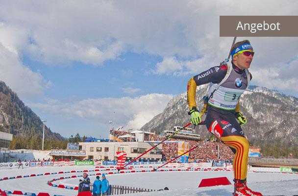 Biathlon Weltcup in Ruhpolding Andi Birnbacher auf Strecke in Stadion